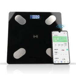 180kg la trempe du verre Salle de bains Bluetooth l'échelle échelle numérique de corps de l'IMC