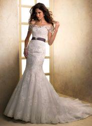 As rendas de manga curta vestido de noiva Sereia Guilhotina Cores Wedding Suite Apliques Beca