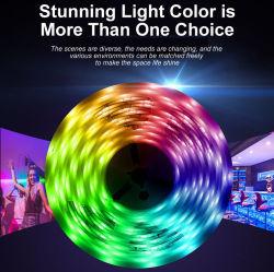 """شريط مرن LED بتقنية Bluetooth® ومزامنة الموسيقى بدون إضاءة مقاوم للمياه ضوء الحبل الأحمر والأخضر والأزرق (RGB) مع مصابيح الزينة الخاصة بأعياد الميلاد من Google Alexa بالنسبة إلى نموذج المجموعة """"ج"""""""
