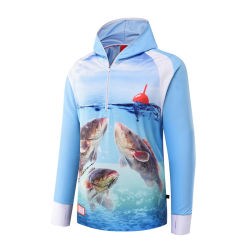 Langes Hülsen-schnell trockenes Leerzeichen passen mit Kapuze fischenjersey-Großhandelsturnier-Fischen-Hemden an