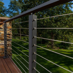 Edelstahl-quadratischer Rohr-Geländer-Entwurf mit Edelstahl-Kabel-Balkon-Kabel-Balustradedecking-Kabel-Balustrade