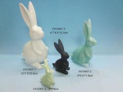 L'artisanat fait main de grandes oreilles de la conception des lapins de Pâques décoration céramique