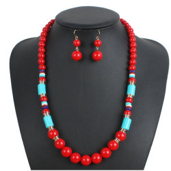 New Product Fashion Red Bead Oorbellen Ketting Jewelry Set
