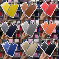Comercio al por mayor Funda de cuero del teléfono móvil con botón de metal para el iPhone