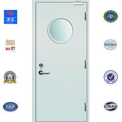 Feu de certificat BS porte en acier ignifugé porte métallique de sécurité avec la vision de verre ignifuge (FS-JY-001)