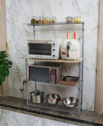 A alavanca multifuncional de 4 camadas de metal ajustáveis de Padeiro Cozinha Microondas Prateleira Rack de armazenamento