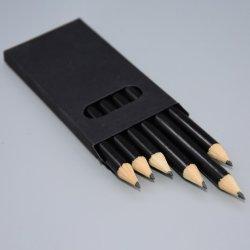 文房具白い木3.5インチ6 PCSの丸型のギフトの黒ブラックボックスの明るいボディHbの鉛筆