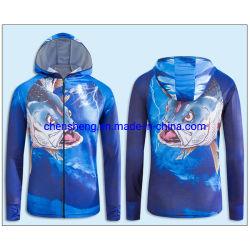 OEM Fabrik Günstige 3D volle Sublimation Customized Männer Kapuze Anti-UV Polyester-Fishing-Shirt und -Hose