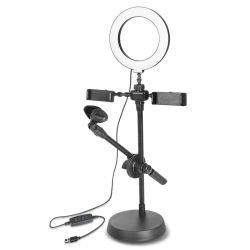 Live Stream et karaoké Desktop Stand support de téléphone mobile avec LED Selfie doux à gradation Studio éclairage annulaire