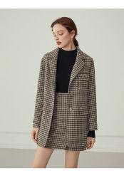 Mulheres de moda nova lã duplo do Outono Inverno elegante Rua Pop Grade Lã saia curta fatos da Senhora do Escritório de Negócios