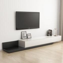 新製品の居間のキャビネットの現代木フレームの黒TVの立場の家具