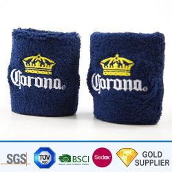 Logo personnalisé de haute qualité à bas prix de l'impression de la broderie Marathon Sport Football Rainbow confortable élastique absorber la sueur de tissu-éponge Tissu de coton à 100 % Set bracelet