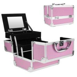Rosafarbene kosmetische Entwerfer-Berufsarbeitsweg-Verfassungs-Handtaschen-Aluminiumschönheits-Fall mit Spiegel Hb-2009