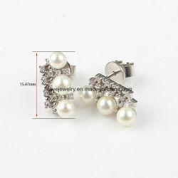 Mode bijoux en or blanc avec trois 925 Sterling Silver Pearl Earrings Bijoux en diamants