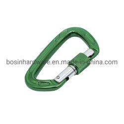 7075 La escalada de aluminio de color verde Mosquetón con tornillo de seguridad