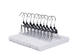 Multifonctionnelle collier blanc lisse en bois massif des cintres pour pantalons Chemises Pantalons