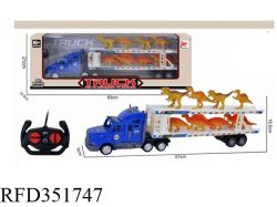 Commerce de gros voiture RC Jouet Jouet camion set Remote Control camion conteneur avec 6 Dinosaur