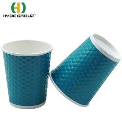 Grau alimentício Ripple Parede Folha Impressa em dourado personalizados copos de papel de cozedura para café