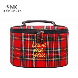 Sacchetto cosmetico di stile di modo della stampa di griglia su ordinazione coreana di marchio, alloggiamento sacchetto filtro cosmetico di trucco impermeabile del cilindro