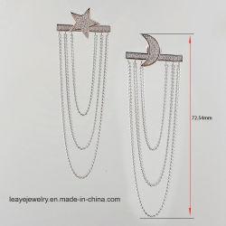 Elegante y de la Luna estrella personalizada Borla pendientes