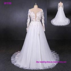 Manches longues fleurs 3D fourche haute Tulle robes de mariée robe de mariée