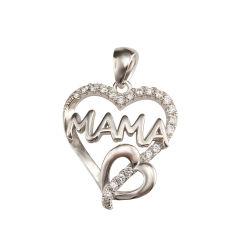925 Libras esterlinas Collar personalizado baratos colgante de plata Joyas de la Mama Corazón Colgante Charms