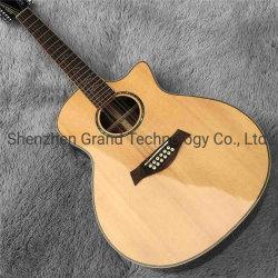 """41 """"固体小ぎれいな上12ストリング斜めに裁ったG814sアコースティックギター"""