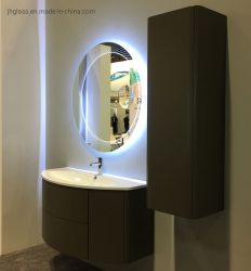 حمام حديث مزخرف بمرآة مضاءة LED مستديرة مثبتة على الحائط تكبير