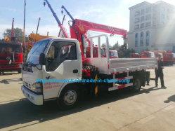 너클 붐 판매를 위한 3 톤 유압 Isuzu 화물 평상형 트레일러 트럭에 의하여 거치되는 기중기