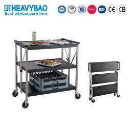 Heavybaoのケイタリング装置の黒の頑丈なプラスチックFoldableトロリー