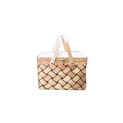 Renel cavacos de madeira artesanais tecidos de cesta de piquenique com tampa