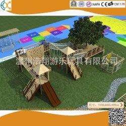 ملعب خشبي للمغامرات الخارجية في الهواء الطلق المخصصة لملعب ما قبل المدرسة