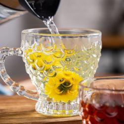 210ml 7.1oz de gros de café en verre de thé personnalisé unique cups set avec soucoupe