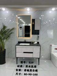 Contador de mármore, chão em madeira contraplacada de MDF armário de banheiro