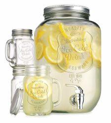 La qualité de la glace claire froide verseuse en verre distributeur de boissons avec jeu de 4 Ice Cold Mason tasses et les pailles