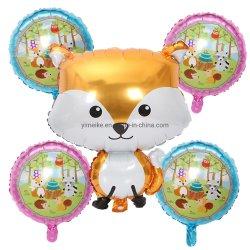 5 bolas de animais na selva Fox Esquilo Hedgehog Conjunto Balão Bebê Decoração de aniversário