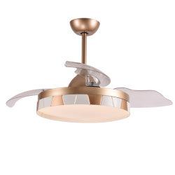 Acabamento dourado capota ventilador de teto com luz LED e ventilador de cobre puro DC controlo remoto