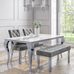 Tavolo da pranzo Louis White Marble Top con acciaio inox 201 n. Tavolo in vetro temperato per le gambe per il ristorante