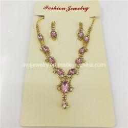 Hochzeits-Gold überzog die KristallNecklace+Earring Form-Schmucksachen des Rhinestone-, diefür Braut eingestellt wurden