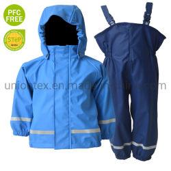 Het basis Populaire Kostuum van de Regen van de Verkoop van de Laag van de Regen van de Regenkleding van het Af:drukken Pu van Jonge geitjes Weerspiegelende Hete voor Kinderen