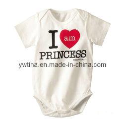 Blanco de algodón para bebés/niños Rompers W Soy Princesa patrón (PT-141)