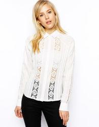 Стенд втулку длинной втулки шифон кружево смешанных блуза для женщин
