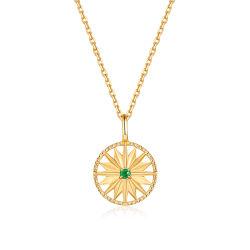 Het in het groot Goud van de Juwelen van de Manier plateerde de Zilveren Smaragdgroene Ronde Duidelijke Tegenhanger van de Schijf van Ster 925