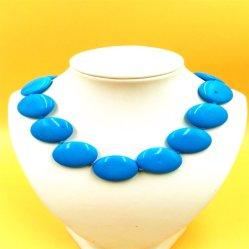 La cialda dell'azzurro di turchese di Stablized borda la collana