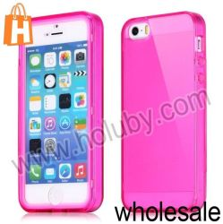 Tik Transparent Touch Full Screen S View TPU Cover Case voor iPhone 5 5s (Rose)
