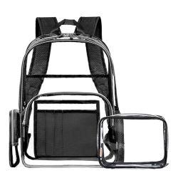 Ver através de mochila pesada Transparente Grande Escola Clara Travel Eco-Friendly 0,4mm PVC Bookbags Transparente Mochila Laptop de Lazer