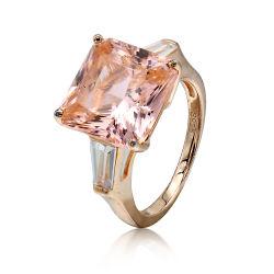 925 Sterling Silver couleur rose vif Zircon de luxe anneau pour les femmes Bagues de fiançailles beaux bijoux