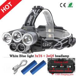 El estilo más reciente 3xcree T6+2xq5 LED USB Faro Faro+2X18650 Recargables Baterías