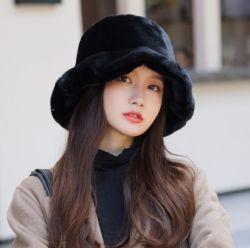 털용 버켓 모자 플러피 버킷 모자 인조 모피 모자 고품질, 따뜻한 패션 화려한 레이디 모자