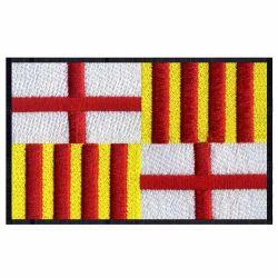 Gesticktes Firmenzeichen Barcelona, Spanien Markierungsfahnen-Stickerei-Änderungen am Objektprogramm für Kleid